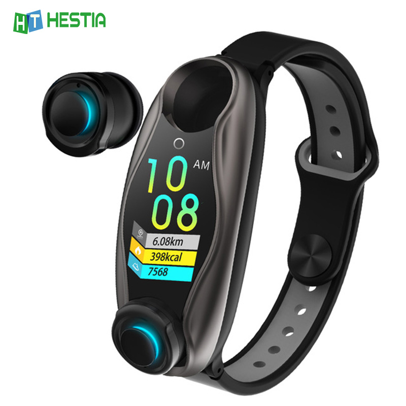 Fitness Bracelet Wireless Earphone 2 In 1 Bluetooth 5.0 Chip IP67 Waterproof Sports Smart Watch Clock for Android IOS Phone