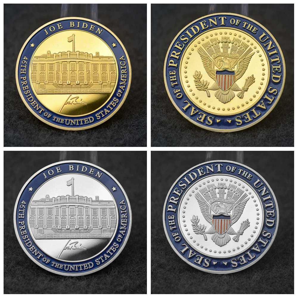 46th президент Biden подпись и Белом доме серебряное и золотое покрытие Монетка