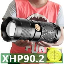 XHP90.2 4-Kern Super Bright Led Doppelkopf Taschenlampe Wasserdichte wiederaufladbare zoombare Taschenlampe Spotlight Floodling Laterne