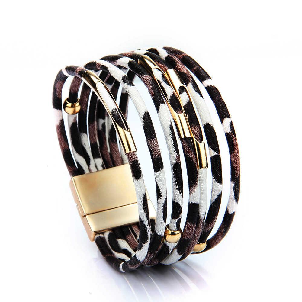 Vrouwen Luipaard Lederen Armbanden 2019 Fashion Elegant Multilayer Wide Wrap Bohemian Armband & Bangles Armband Trendy Sieraden