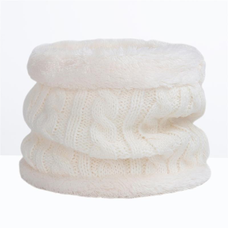White Winter Cotton Scarf Thicken Neckerchief Soft Neck Warmer Knitted Scarves Gift For Child Kids Winter Warm Scarf