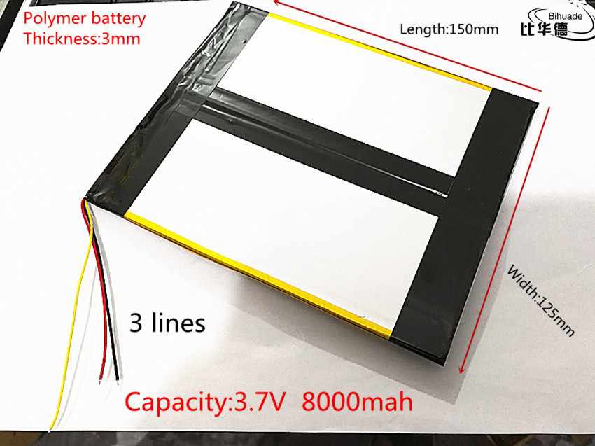 3 line <font><b>3.7V</b></font>,<font><b>8000mAH</b></font> (polymer lithium ion battery) Li-ion battery for tablet pc 7 inch 8 inch 9inch 30125150 image