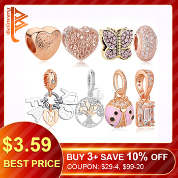 Authentic Rose Gold Love Heart Family Tree Dangle Charm Beads
