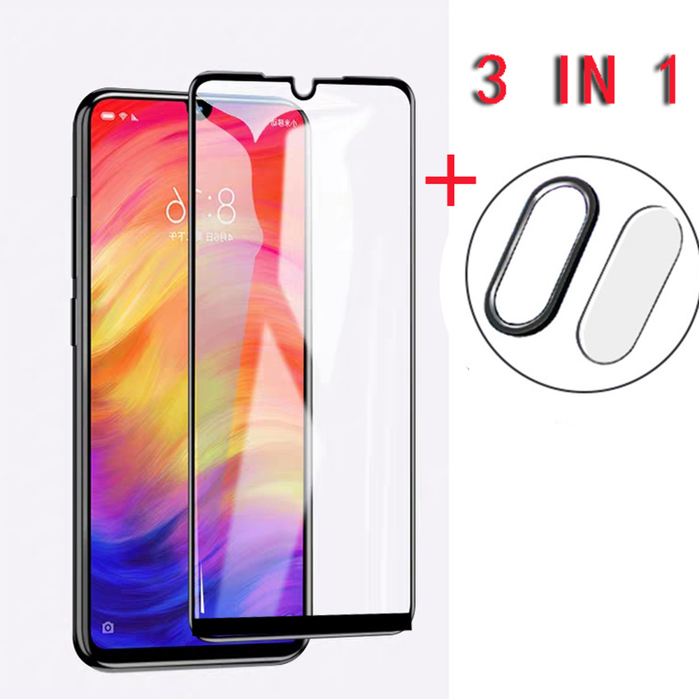 9H Tempered Glass Full Screen <font><b>Protector</b></font> for <font><b>Redmi</b></font> <font><b>Note</b></font> <font><b>7</b></font> Film 3 In 1 Metel Protective Ring Camera <font><b>Lens</b></font> Film for <font><b>Redmi</b></font> <font><b>Note</b></font> <font><b>7</b></font> Pro image