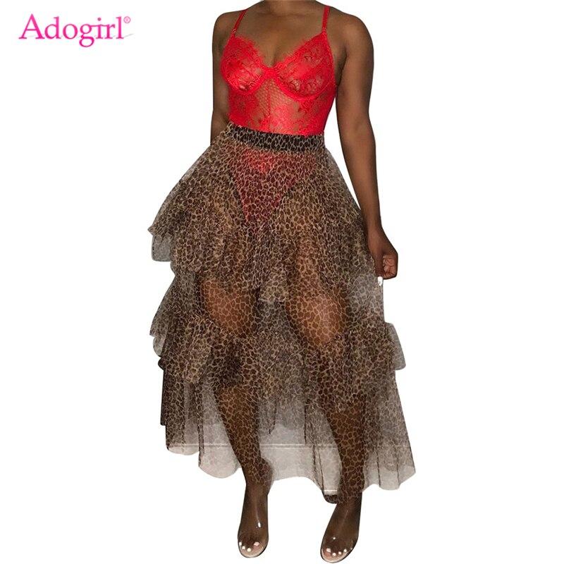 Adogirl Fashion Leopard Print Cascading Ruffle Maxi Skirt Sheer Mesh Long Petticoat Night Club Party Clothing Casual Skirts