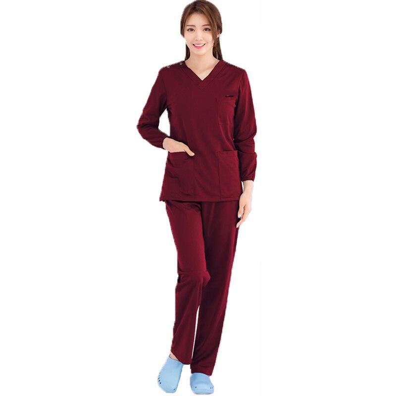 Winter Medical Uniform Women Scrub Set Stretch Rib Knit Scrub Nursing Uniforms Elastic Hospital Costume Suit