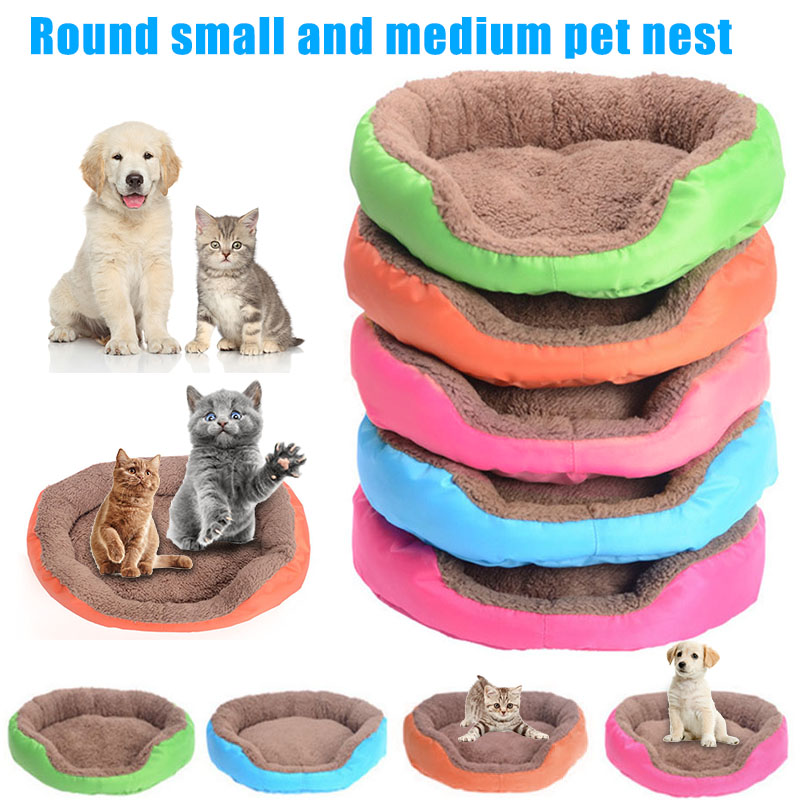 Candy Colors Pet Dog Cat Calming Bed Warm Soft Plush Round Nest Comfortable For Sleeping TN88