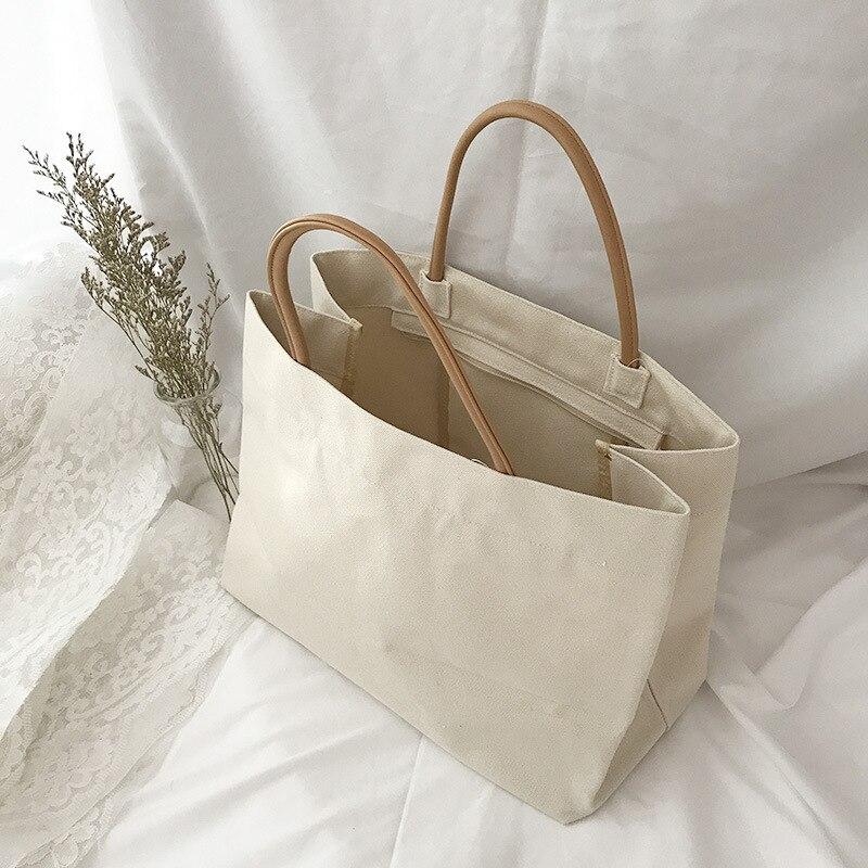 Canvas Women's Shoulder Shopper Bags Large Tote Shopping Bag for Woman 2020 Cotton Cloth Female Handbags Ladies Beach Sac A Main