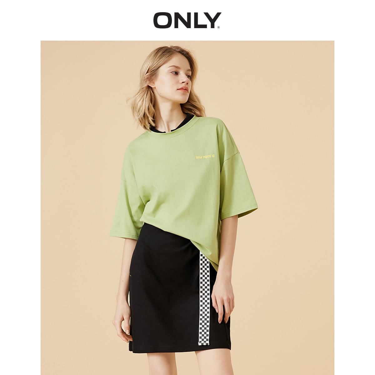 ONLY Women's 100% Cotton Round Neckline Letter Print Short-sleeved T-shirt | 120101633