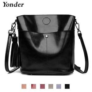 Image 1 - Yonder Black crossbody messenger bag womens genuine leather shoulder bag female bucket bag women High quality brown handbags