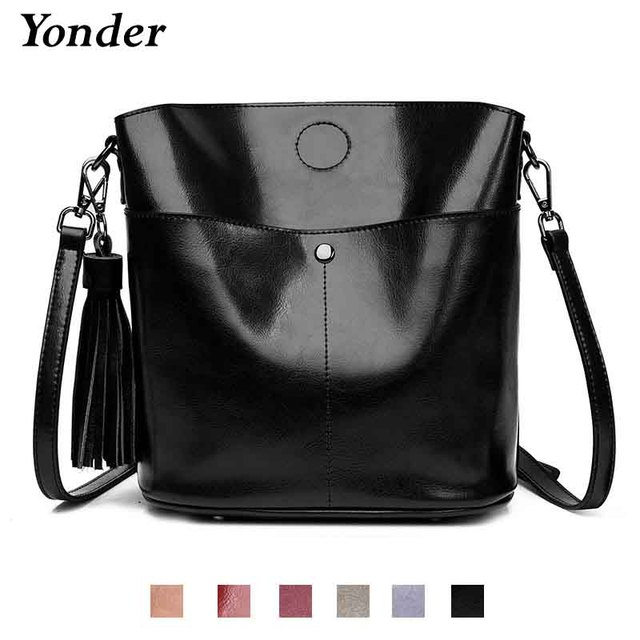 Yonder Black crossbody messenger bag womens genuine leather shoulder bag female bucket bag women High quality brown handbags