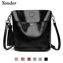 Yonder Zwart Crossbody Messenger Bag Vrouwen Echt Lederen Schoudertas Vrouwelijke Emmer Tas Vrouwen Hoge Kwaliteit Bruin Handtassen