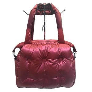 Image 4 - Зимние сумки 2019, вместительные хлопковые мешки с перьевым наполнителем, сумки на одно плечо, прокладка в стиле ретро, однотонная Сумка тоут, повседневная женская сумка мессенджер