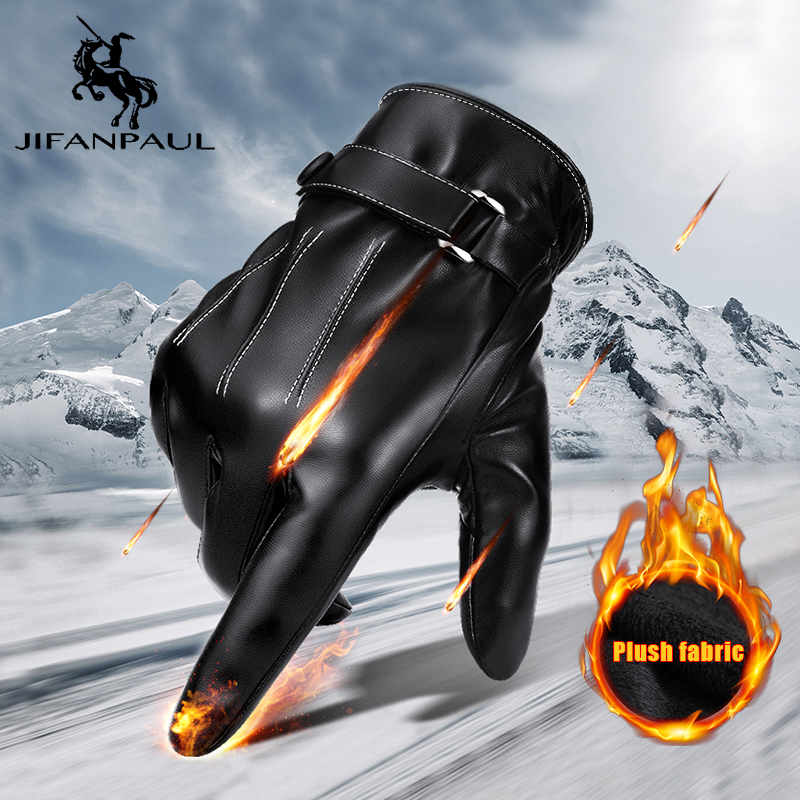 JIFANPAUL Cold-proof Unisex Waterproof Winter Gloves Breathable Tactico Gloves Cashmere Warm Cowhide Leather Touchscreen Gloves
