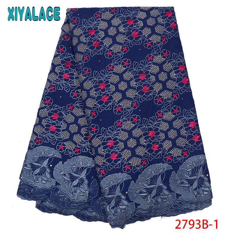NIAI African Lace Fabric 2019 High Quality Lace 100% Cotton Lace French Swiss Voile Embroidery Lace Fabric For Women KS2793B