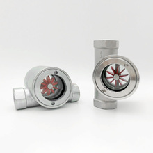 "3/8"" 1/2"" 3/4"" 1""  2"" BSP Female Window Sight Glass Flow Indicator With Impeller 304 Stainless Steel Water Oil"