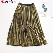 Pleated Long Skirt Women 2019 Metallic Silver Maxi Pleated Skirt Women High Waist Elascity Midi Skirt Elegant Lady Party Skirt drawstring waist pleated skirt