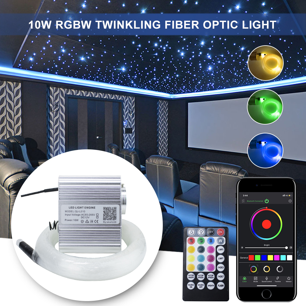10W RGBW Twinkle LED Fibre Optic Star Ceiling Lights Kit 0.75mm*200-300pcs *2M  Bluetooth & Music Control For Star Ceiling Light