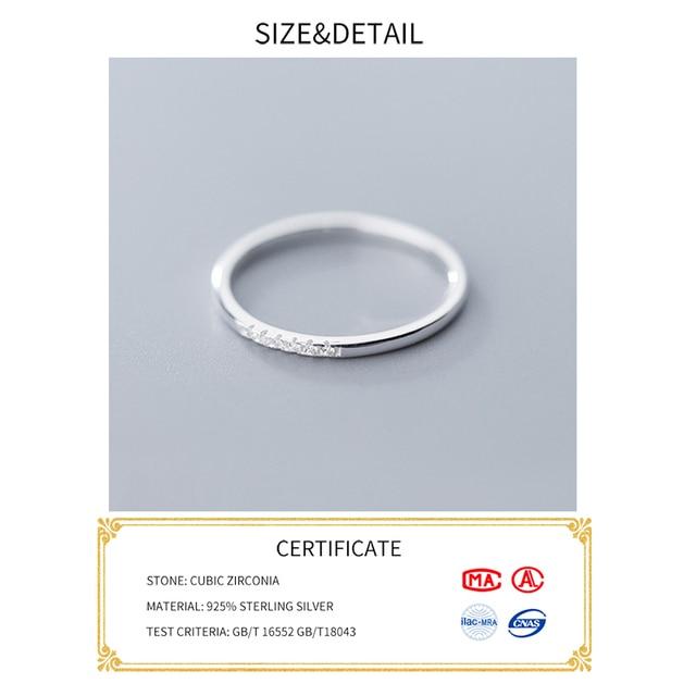 INZATT Real 925 Sterling Silver Zircon Round Geometric Ring For Fashion Women Cute Fine Jewelry 2019 Minimalist Accessories Gift 4