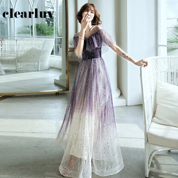 Shiny Sequin Evening Dresses R237 Ruched Short Sleeve Banquet Dress For Girls V-Neck Robe De Soiree A-Line Elegant Vestidos