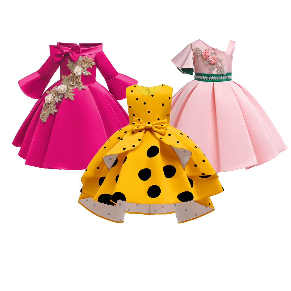 Girls Daily Dress Bow Dot Elegant Tutu Princess Dress Kids Fancy Carnival  Costume Birthday Party Children Printing Clothing