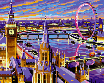 London City Scape Painting By Numbers Kit River Thames London Eye Big Ben