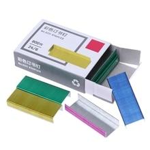 800Pcs/Box 12mm Creative Colorful Metal Staples Office School Binding Supplies M5TE