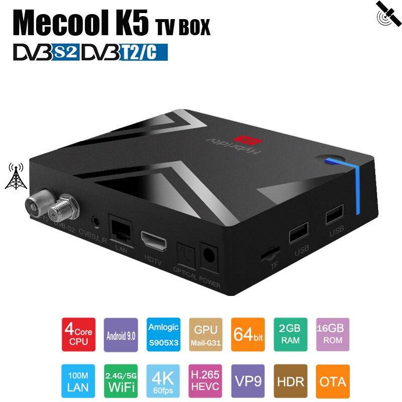 Mecool K5 Android TV Box DVB T2/S2/C Receptor Combo Set Top Box OS Android 9.0 Amlogic S905x3 H.265 CPU Satellite TV Receiver