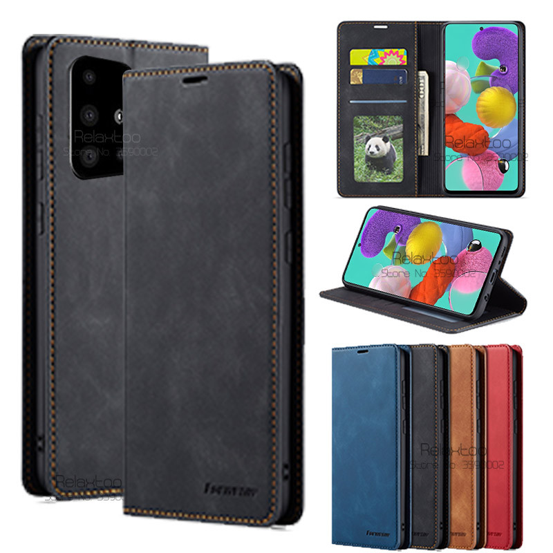 Leather Flip Magnetic Case For <font><b>samsung</b></font> galaxy a51 2019 stand book card wallet phone <font><b>Cover</b></font> sumsung a71 a 71 51 a515F a715F coque image