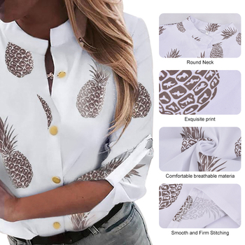 DIHOPE Women's Shirt Ananas White Long Sleeve Women's Blouse  2020 Womens Tops And Blouse Top Female Autumn New Plus Size 5xl 4