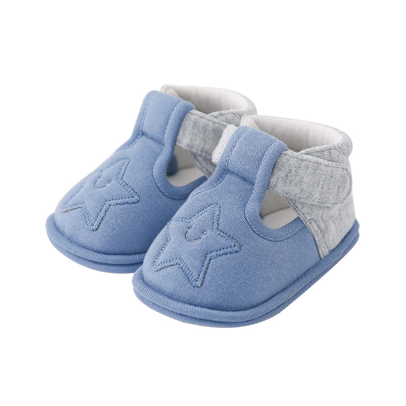 Pureborn Newborn Baby Shoes Anti-Slip Baby First Walkers Cartoon Star Hookloop Soft Baby Shoes Spring Summer Baby Shoes