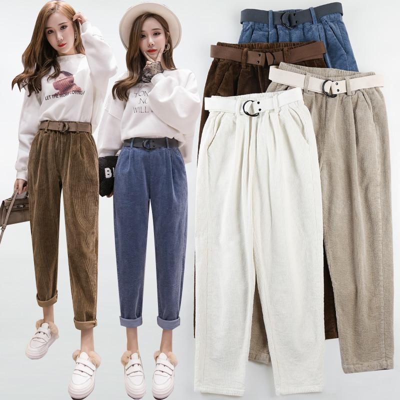 New Women Casual Harajuku Spring Autumn Corduroy Long Trousers Solid Elastic Waist Cotton Linen Pants Ankle Length Haren Pants