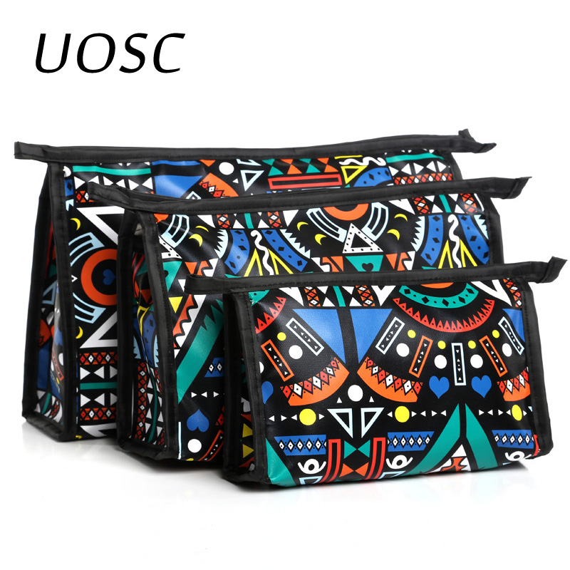 UOSC New Style 3pcs Cosmetic Bag Toiletry Travel Wash Makeup Case Holder Pouch Kits Set Leather Material Travel Makeup Bag Viaje