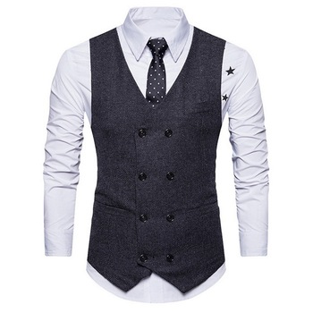 Men Spring Autumn Men's Fashion Vintage Double-breasted Suit Vest New Sleeveless Business Party Slim Fit Waistcoat