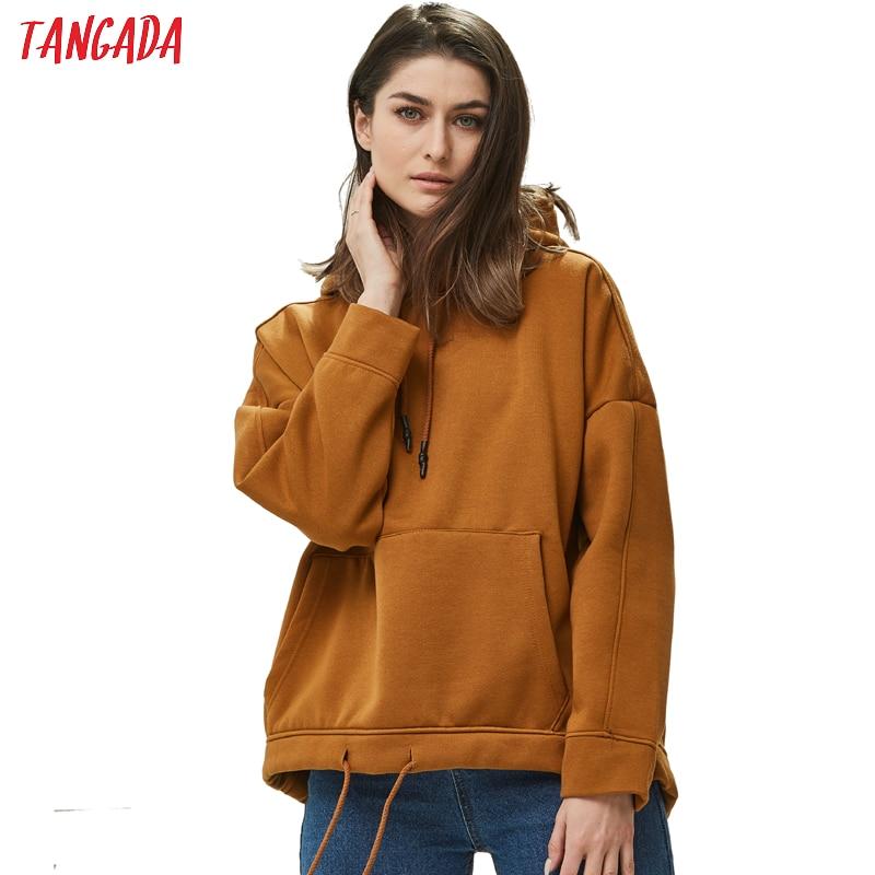 Tangada Women Fleece Pullovers Sweatshirt Autumn Winter 2019 Female Solid Oversize Pullovers Casual Pocket Hooded Tops 4M41