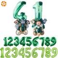 Новые 32/40 дюймовые зеленые цифровые воздушные шары из фольги, вечерние воздушные шары в джунглях с животными, Детские шары на день рождения ...