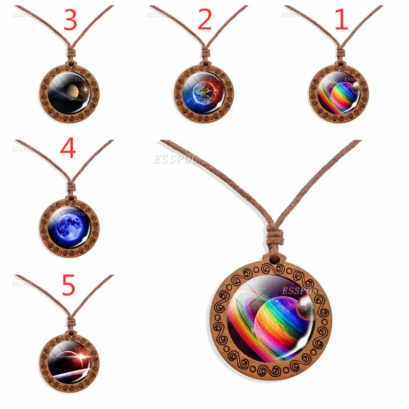Wooden Necklace Moon Galaxy Planet Glass Cabochon Pendant Rope Fashion Jewelry Women Gifts