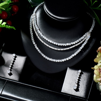 HIBRIDE Nigeria 2pcs Bridal Zirconia Jewelry Sets for Women Earrings and Necklace Set parure bijoux femme mariage N-729