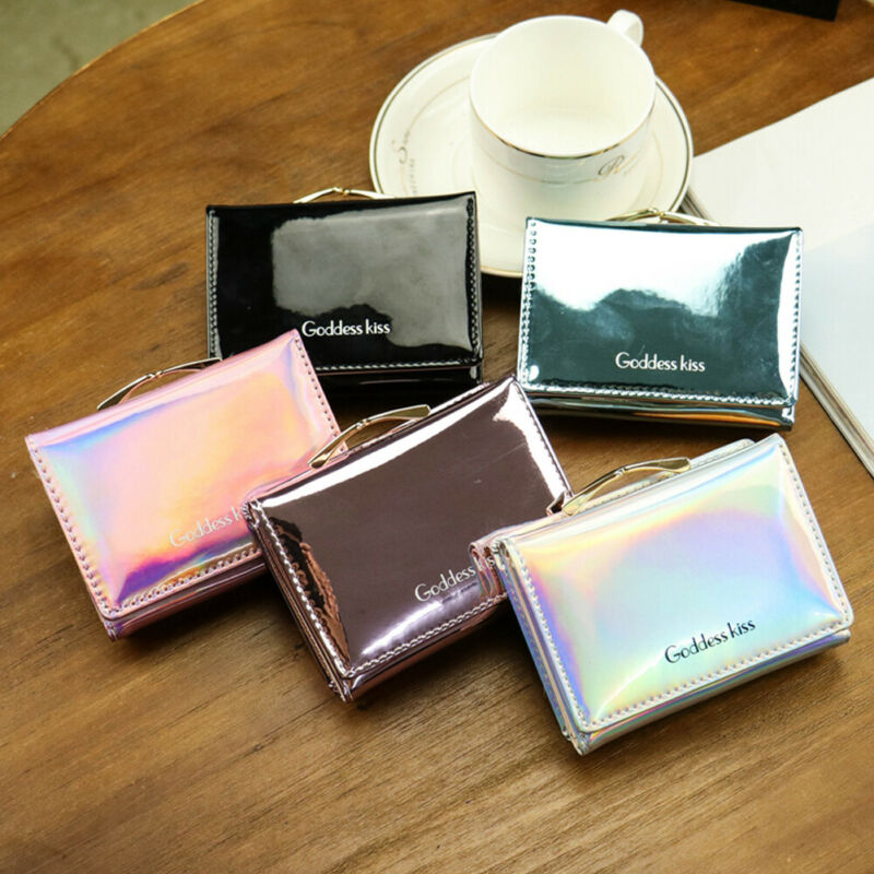 Women Simple Tri Fold Wallet Mini Letter Print Wallet Card Holder Clutch Girls Coin Purse Hasp PU Leather Short Wallets 2020 New