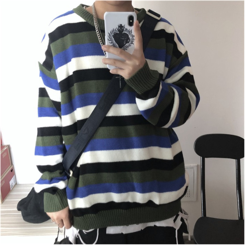Winter Striped Sweater Men Warm Fashion Contrast Color Casual Knit Sweaters Man Sweter Clothes Loose Long-sleeved Pullover Men