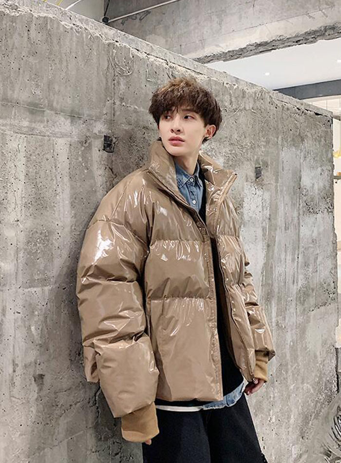 Fashion thickening plus velvet stand collar bright leather loose short coat men and women wear couple winter clothes 9
