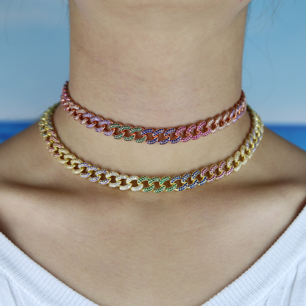 Micro Pave Cz Crystal Curb Chain Link Collar Choker Tennis Necklace Earring Set