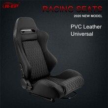 R EP Universal Racing รถที่นั่งสำหรับกีฬาจำลองรถที่นั่งปรับสีดำ PVC หนัง XH 1035 BK