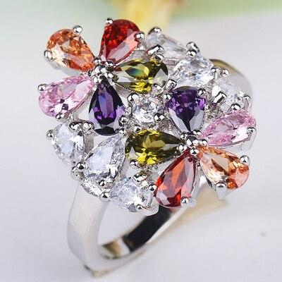 Горячая Распродажа, дизайн, роскошное большое овальное CZ кольцо золотого цвета, обручальное кольцо, хорошее ювелирное изделие для женщин, ювелирных изделий - Цвет основного камня: Лиловый
