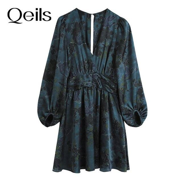 Qeils Women Chic Fashion With Draped Waist Print Mini Dress Casual Vintage V Neck Long Sleeve Female Dresses Vestidos Mujer 1