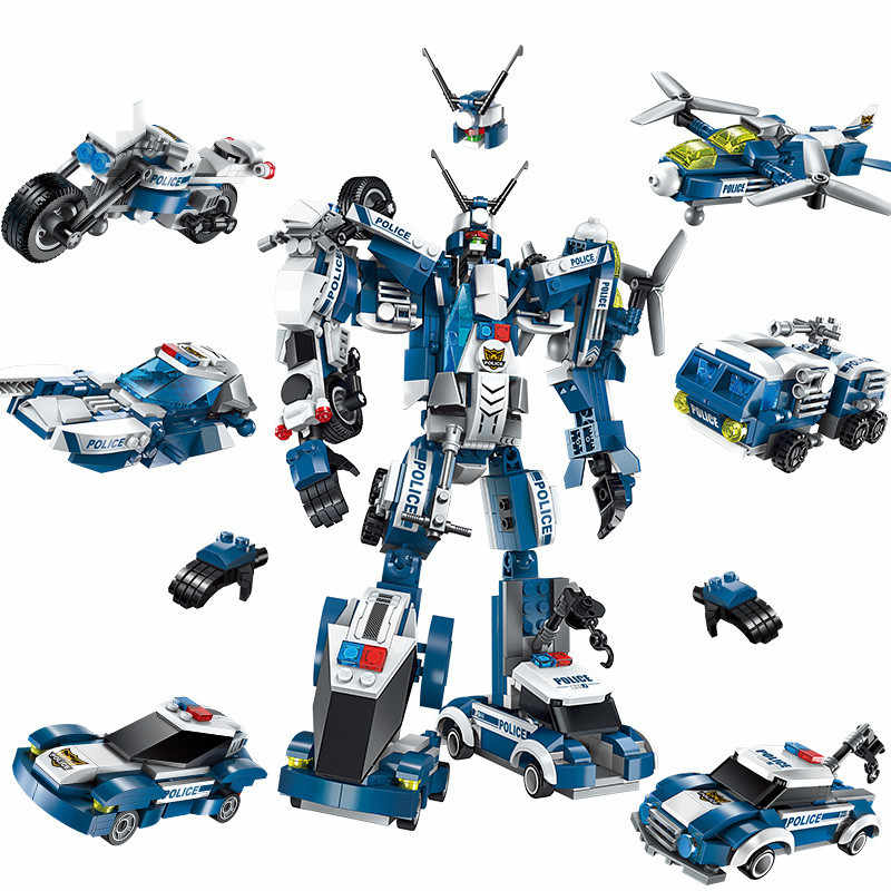 Kids Love 6 In 1 Police War Generals Deformation Robot Car Legoed Model Building Blocks Kit Toys Kids Birthday Christmas Gifts