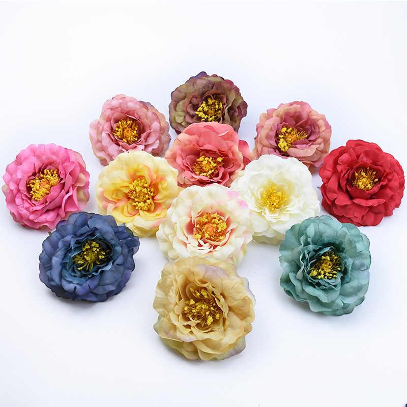 2/5/10 piezas de seda peonía cabeza boda accesorios nupciales liquidación flores decorativas guirnalda decoración del hogar barato artificial flores