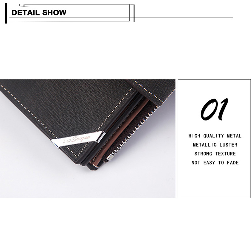 H37f78a84ba4449e5a5fe748c213937b4P - New Business men's wallet Short vertical Male Coin Purse casual multi-function card Holders bag zipper buckle triangle folding