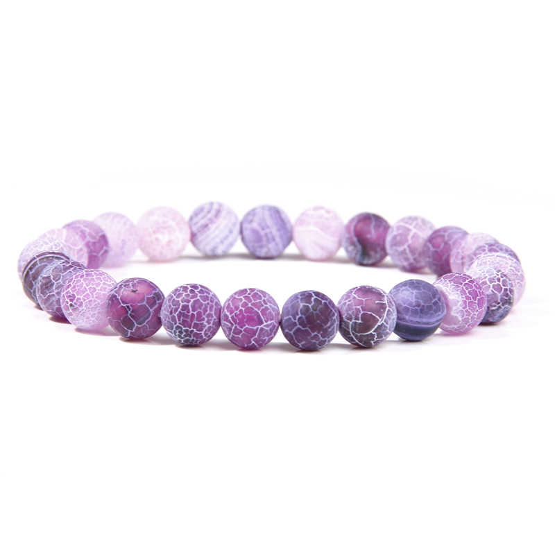 Yoga Bracelets Weathered Agates Bracelet Blue Purple Bead Stone Charms Bangles Friendly Stretch Energy Gift Women Buddha Jewelry