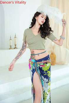 Belly Dance Top / Skirt Cross Top /Split Colorful Dress Belly Dance Costume Clothes  Shasha Samba Indian Dance Costumes  Clothes belly dance top ats tribal belly dance top lace choli lantern sleeve top women s belly dance costume fqq03